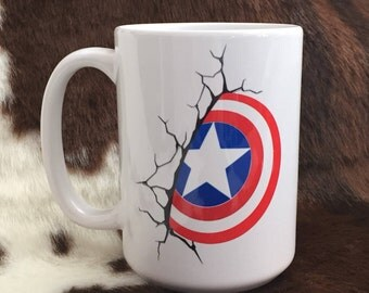 Captain America mug, gift item, coffee mug, super hero mug, gift for him, teacher gift