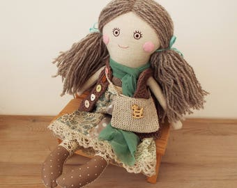 Boho Doll, Linen Boho Doll with a Bag, Rag Stuffed Textile Doll in Natural colors, Gift for Daughter, Handmade Cloth Soft Doll