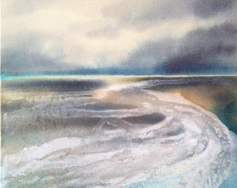 Original painting - At low tide 2 - ink and acrylic on canvas. Abstract seascape.