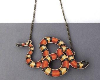 Laser Cut Milk Snake Reptile Herpetology Statement Necklace - Herpetology Milk Corn Snake Reptile Exotic Pet Jewellery Birch Please