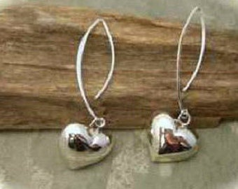 Sterling Silver puffed heart earrings on long Sterling Silver hooks