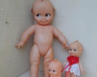 Vintage Kewpie Dolls, Set of 3 Vintage Toy Dolls, Retro Toys, Cameo, Rose O'Neill, 1960s Doll, Retro Toy, Standing Kewpie Doll, Sitting Doll