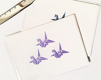 Purple Paper Crane Greeting Card