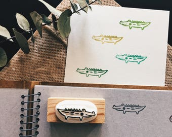 crocodile hand carved rubber stamp.crocodile rubber stamp.crocodile stamp.animal stamp.zoo stamp.