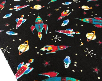 outer space table runner with rockets and planets design accent table mat or runner ideal