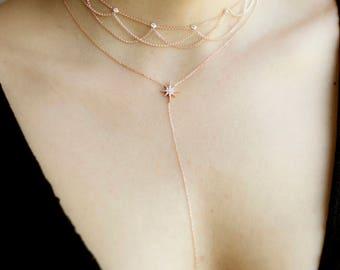 Ketting Choker / Star Y ketting / gelaagde Choker / Romantisch Jewelry / Victoriaanse stijl