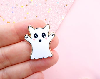 Halloween Cat Ghost Enamel Pin, spoopy, cat lover pin, cute halloween pin, little lefty lou, pin badge, ghost pin, cat gift, cat pin badge