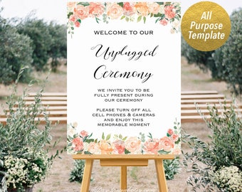 Peach and Crean Floral All Purpose Welcome Sign Templates, Printable Unplugged Ceremony Sign, Large Poster, DIY PDF Instant Download #106