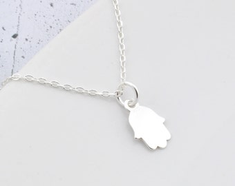 Sterling Silver Hamsa Necklace, Hamsa Pendant, Hamsa Chain, Silver Hamsa, Hamsa Hand, little Hand, charm necklace Hand silver Hand of Fatima