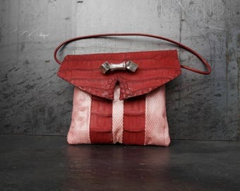 python and especially exotic leather bag (red rocket)