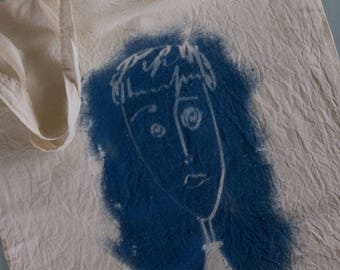 """Tote bag """"Faces"""" in cyanotype"""