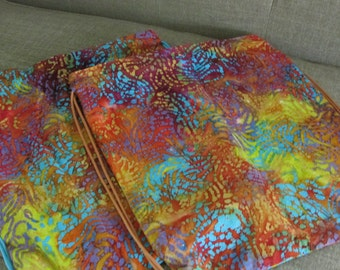 Batik Fabric Cinch Bag // Posh Mom // Back to School // Drawstring Bag // One of a kind and Handmade