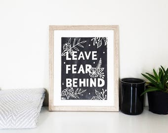 Art Print  / Positive Quote / Hand Carved Illustration / Floral / 8 x 10 / Neutral / Original / Black and White / Positivity / Encouragement