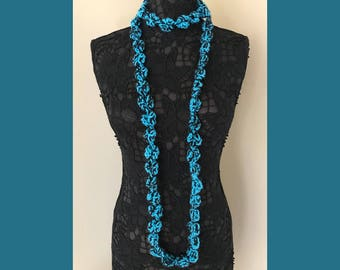 "Popcorn Infinity Scarf Cowl for Girls or Women - Handmade Crochet  72"" circumference Blue and Black - Item S2"