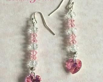Heart - Swarovski Pink Heart - Crystal - Valentine Earrings