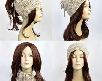 Hat Knitting Pattern // Ponytail Hat Pattern, Ponytail Beanie, Womens Hat Pattern, Ponytail Hole Hat, Ponytail Hat Scarf, Pony, PDF Pattern