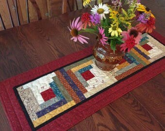 Log Cabin Quilted Table Runner Fall Country Primitive