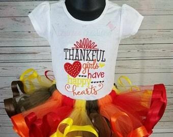 Thankful girls tutu; thanksgiving tutu; Red, brown, orange and yellow tutu