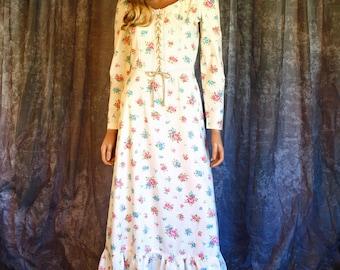 Vintage 1970s Prairie Maxi Dress Corset Bib Hippie Festival Boho Gunne Sax Style XS