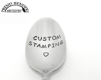 Custom Hand Stamped Spoon, Engraved Spoon, Personalized Spoon, Unique Birthday Gifts For Dad, For Mom, For Him, For Her, Easter Basket Gifts