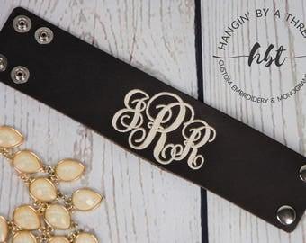 Monogrammed Leather Bracelet - Monogrammed Leather Cuff Bracelet - Extra Wide Leather Cuff Bracelet - Christmas Gift for Her