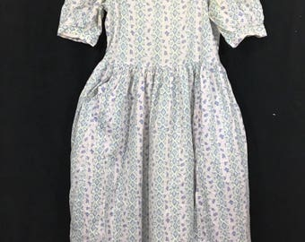 Laura Ashley Great Britain Vintage Dress Puffy Sleeve Pleated Womens US 12 UK 14