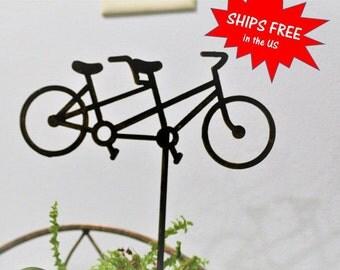 Rusty Tandem Bicycle Stake, Bike Yard Art, Bicycle Built for Two, Bike Riding Gift, bicycle yard art, bike garden sign, bicycle yard sign