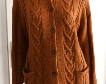 Handmade knitted Brown Cardigan size S