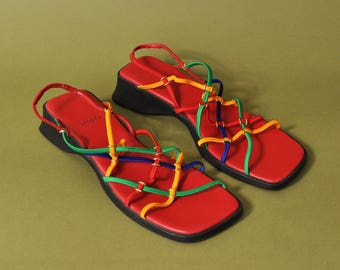 90s Strappy Sandals, Vintage 90s Shoes, Colorful Slip On Shoes, Gladiator Sandals, Slingback Sandals, Vibrant 90s Sandals, Womens US Size 7