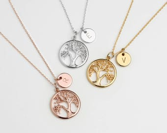 Custom Family Tree Necklace Initial Coin Disc Personalized Tree of Life Necklace Christmas Gift for Mom Gifts for Inlaws - TLN-TC