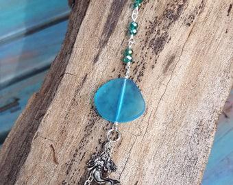 Mermaid Crystal Rearview Mirror Accessory - Sea Glass - Car Jewelry - Mermaid Gifts - Coastal Accessory - Beach - Boho Beach - Mermaids