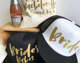 READY TO SHIP! Bride Hat + Brides Babes Hats | Bachelorette Hat | Bridesmaids Hats | Bachelorette Party | Bridal Party Hats | Team Bride Hat
