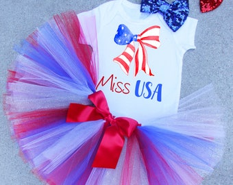 Miss USA, 4th of JULY Outfit, Miss USA Outfit, 4th of July Set, Girls Clothing, 4th of July Shirt, 4th of July Skirt, 4th of July Photo Prop