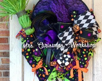 Halloween wreath, witch wreath, deco mesh wreath, deco mesh Halloween, Halloween witch