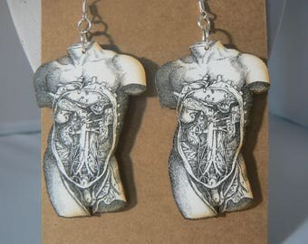 vintage anatomy torso earrings love medical lasercut woodcut