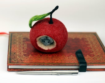 Red deco apple and mouse felted felt home decor fruit seasonal decoration decorative needle felted mouse in apple house anthroposophically