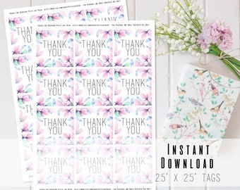 """2.5""""x2.5"""" Watercolor Pink Floral Printable Thank You Tags - Stickers - Baby Shower - Birthday - Engagement - Celebration - INSTANT DOWNLOAD"""