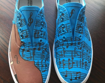 Completely customizable hand painted music shoes violin shoes guitar shoes piano shoes ukele shoes trumpet shoes drums shoes cello shoes