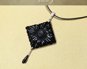 Protection pendant, Black Obsidian pendant necklace, Large size Carved Flower pendant necklace, Negativity Neutralizer, InfinityCraftArts