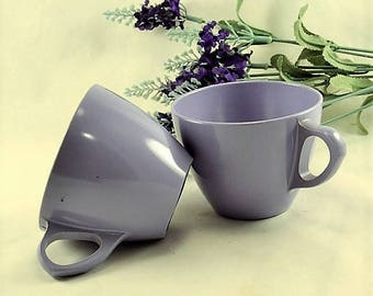 Purple Melmac Coffee Cups - Royalon Inc. - 2 Lavender Coffee Mugs
