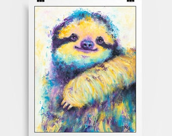Cute Sloth Art - Sloth, Sloths, Sloth Gift, Cute Sloths, Sloth Art Print, Cute Sloth Print, Sloth Gifts, Sloth Print Art, Sloth Wall Print.