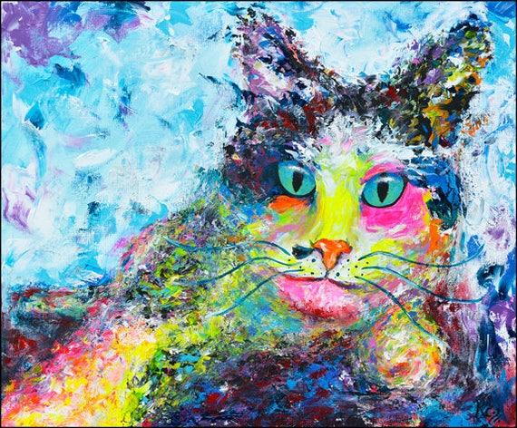 Cat Print - Cat Wall Art Decor, Cat Art Print, Cat Decor, Colorful Cat Artwork, Abstract Cat Art, Modern Cat Art, Abstract Cats Print.