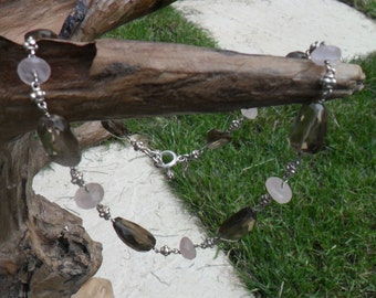 Dower and Hall Sterling Silver, Rose Quartz and Smoky Quartz Necklace