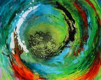Mastrom, Modern abstract work , acrylic on plexiglass 24x24