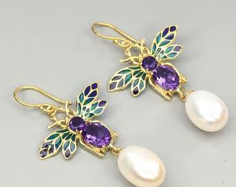 Edwardian Suffragette Jewelry 14k Yellow Gold Vermeil Amethyst Pearl Art Nouveau plique-a-jour Enamel Bee Dropper Earrings: Truly Venusian