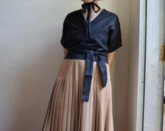 Pleated Virgin Wool High-waist Skirt