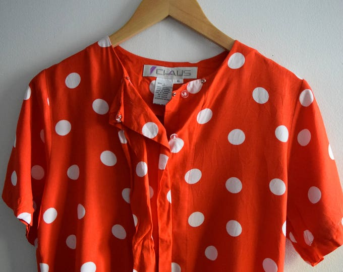 Red Polka Dot Short Sleeve Blouse