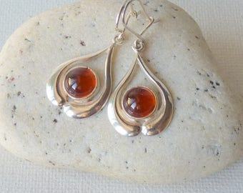 Amber Sterling Silver Art Nouveau Earrings, Vintage Gold Amber Pierced Earrings, Silver Amber 925, Retro Baltic Amber, Vintage Jewelry 925