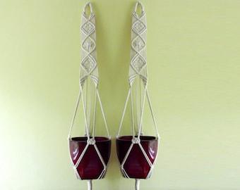"Set of TWO Cotton macrame plant hangers - 39'' long + 10"" tassel"