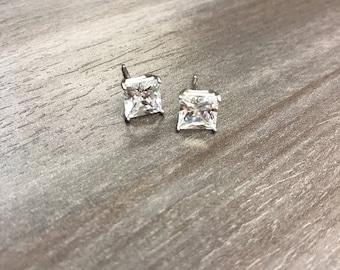 Princess Stud Earrings | 7mm Princess Cut .925 Sterling Silver Stud Earrings